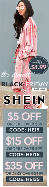 The Almost Black Friday Sale! Enjoy $35 off orders $189+ with coupon code HEI35 at SheIn.com! Ends 1