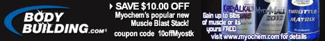Save $10 on MyoChem's Muscle Blast Stack at Bodybu