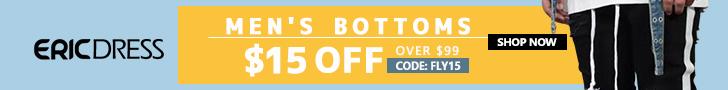 Ericdress Men's Bottoms $15 off $99, Code: fly15