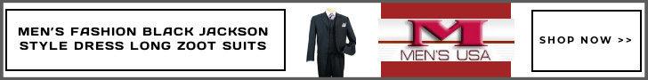MEN'S FASHION BLACK JACKSON STYLE DRESS LONG ZOOT