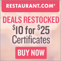 $25 gift certificates for only $10 at Restaurant.com!