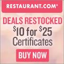 $25 Restaurant.com Gift Certificate for $4!