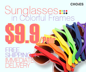 Colorful sunglasses $9.9/pair at choies