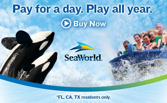 SeaWorld - Pay for a day.  Play all year.