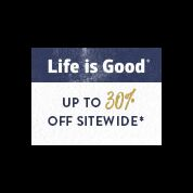 Life is good. 120 x 90 30% Off Sitewide