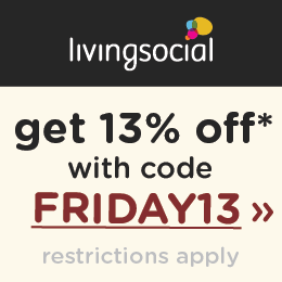 Save an additional 13% on LivingSocial.com using code