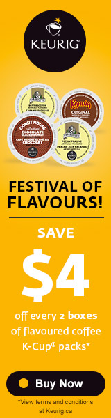 Save $4 off every 2 boxes of flavoured coffee K-Cup® packs