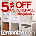Get $5 Off your order of $75+ at Organize.com! Use Promo Code: 5OFF75