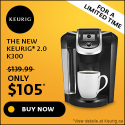 ONLY $105! The New Keurig 2.0 K300 Brewing System