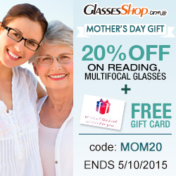 Celebrate Mom with 20% off reading or multifocal glasses PLUS a free gift card at Glasses Shop.com!