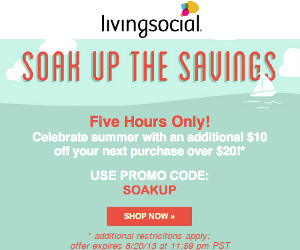 Take $10 off your next purchase* of $20 or more on LivingSocial.com when you use