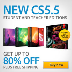 Save up to 80% on Adobe Creative Suite 5.5 Student