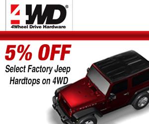 5% off JK Factory Hardtops on 4WD.com