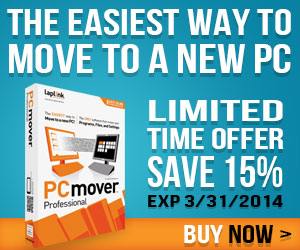 The Easiest Way to Move to a New PC! Limited Time Offer: Save 15% on PCmover Professional