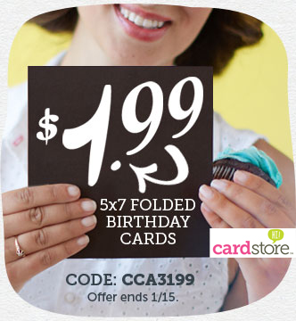 Celebrate & Save! $1.99 5x7 Folded Birthday Cards at Cardstore!
