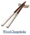 Chinese Wood Chopsticks & Silver Stand