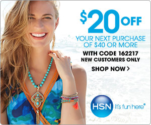 $20 off your next order of $40 or more from HSN! Use code: 162217