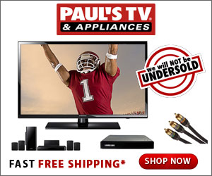 Watch football on the Big Screen this season. Shop PaulsTV.com