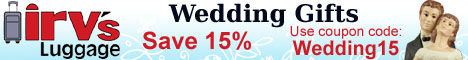 Irv's Luggage wedding gifts 10% Coupon