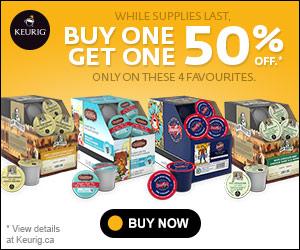 Buy One, Get One 50% off at Keurig.ca