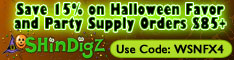 Save 15% on Halloween party supplies at Shindigz