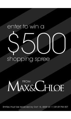 Win a $500 Shopping Spree at www.maxandchloe.com