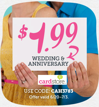 Celebrate Love! Perfectly Personalized $1.99 Wedding & Anniversary Cards at Cardstore! Use Code: CAH