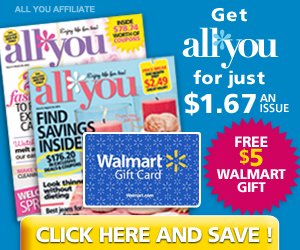 FREE $5 WalMart Gift Card with Subscription to All You Magazine!
