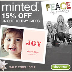 15% off Minted holiday cards with code EARLYBIRD15