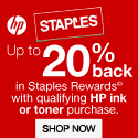 Get up to 20% when you purchase $60 of HP Ink or $200 of HP Toner at Staples.com!
