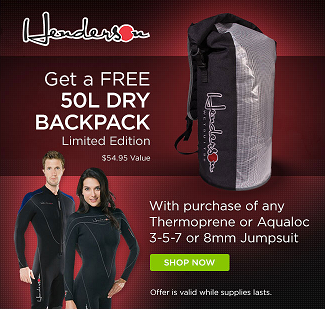 Banner>FREE Henderson Dry Backpack With Purchase Of Select Henderson Jumpsuits! while supplies lasts