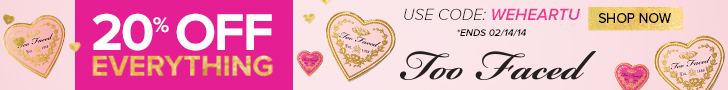 Too Faced Valentine's Day Sale: Save 20% off sitewide! Use code: WEHEARTU. Valid 2/12/14-2/14/14.