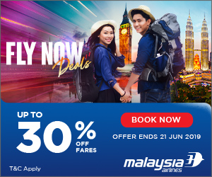Up to 30% off fares at Malaysia Airlines!