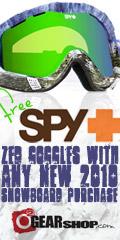 Free Spy Goggle w/ any 2010 Snowboard at o2 Gear!