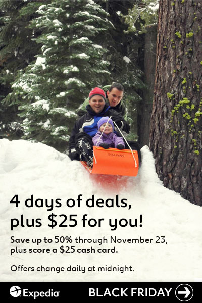 Four days of Expedia Black Friday deals! Save up to 50% on travel, plus score a $25 cash card!