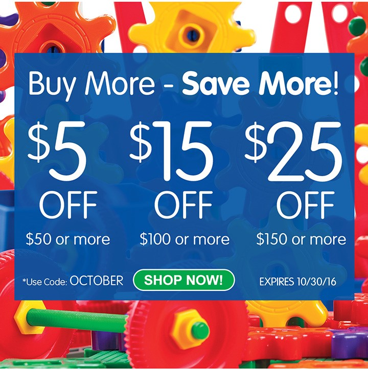 BUYMORE, SAVE MORE SALE - $5 Off $50+, $15 Off $100+, & $25 Off $150+ At Discount School Supply!