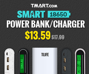 $13.59 for Tlife Smart 18650 Batteries Charger / Power Bank