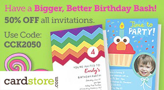 Have a Bigger, Better Birthday Bash! 50% off All Invitations at Cardstore.com, Use Code: CCK2050