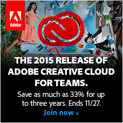 250x250 2015 Creative Cloud for Teams: Save as much as 33% for up to three years. Ends 11/27