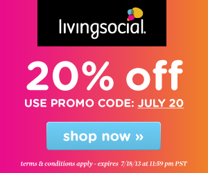 Take 20% off your next purchase* on LivingSocial.com when you use promo code