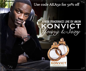 Use Coupon code AKA50 for 50% off Akon fragrances