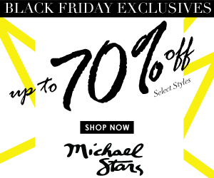 Black Friday Exclusive! Enjoy up to 70% off select styles at Michael Stars! Hurry, offer valid 11/28