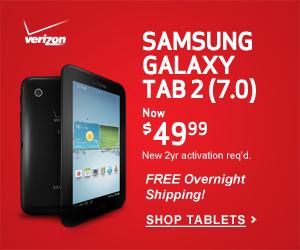 Verizon Wireless Samsung Galaxy Tab 2 (7.0) for $99.99