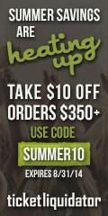 $10 off orders of $350+ at Ticket Liquidator
