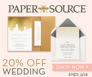 20% off Wedding Invitations and Save the Dates at Paper Source