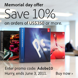 Adobe 10% off all orders of $350 or more!