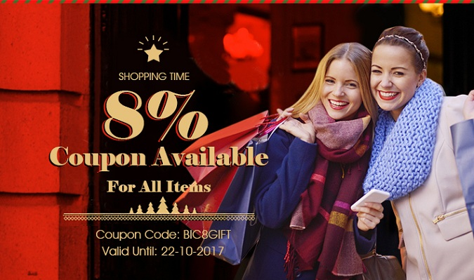 Shopping Time! 8% Coupon Available For All Items!