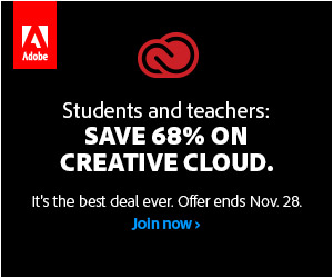 Black Friday Promotion: Students and Teachers save 68% on Creative Cloud