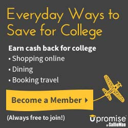 Earn cash back for college by shopping online, dining, booking travel through Upromise by Sallie Mae