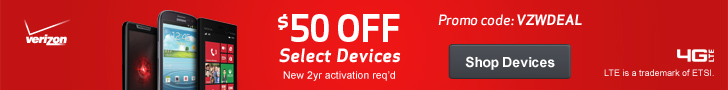 $50 Off Select Devices at Verizon Wireless
